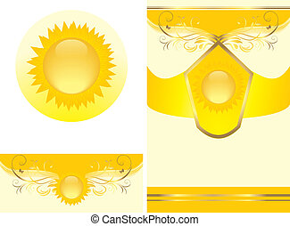 floreale, sole, ornamento