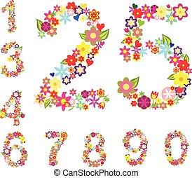 floreale, stile, set, numeri