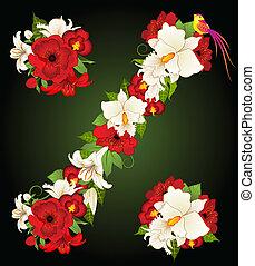 floreale, symb, percento, illustrazione