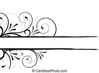 floreale, testo, cornice