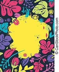 floreale, tropicale, cornice, fondo, illustrazione