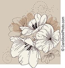 floreale, tul, fondo, azzurramento