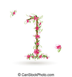 floreale, tuo, disegno, numero