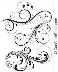 floreale, turbini, vectors