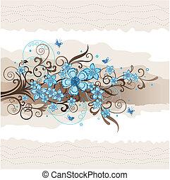 floreale, turchese, cartolina auguri