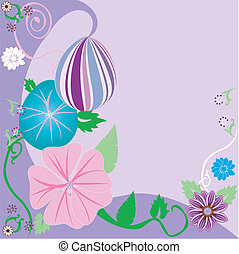 floreale, uovo di pasqua, fondo