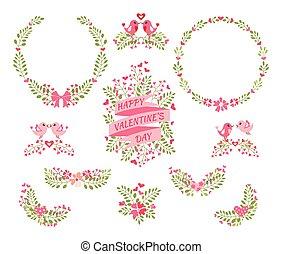floreale, valentine's, set, giorno, elements.