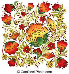 floreale, vendemmia, astratto, ornamento, bianco