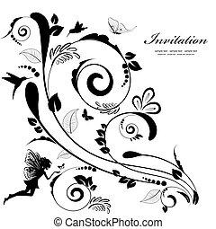 floreale, vendemmia, bordo, disegno, tuo