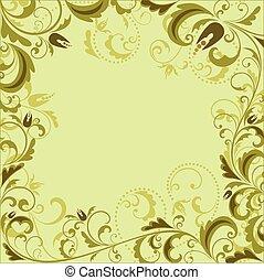floreale, vendemmia, cornice, verde