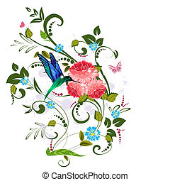 floreale, vendemmia, disegno, tuo, modello