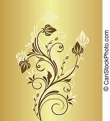 floreale, vendemmia, fondo, illustrazione, oro