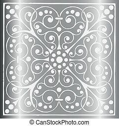 floreale, vendemmia, grigio, lusso, argento