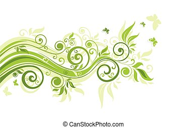 floreale, verde, bordo