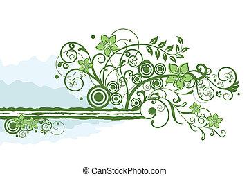 floreale, verde, bordo, elemento