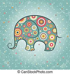 floreale, vettore, elefante
