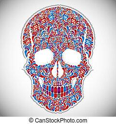 floreale, vettore, illustration., cranio