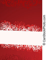 floreale, vettore, illustrazione, rosso