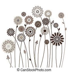 floreale, vettore, illustrazione, scheda