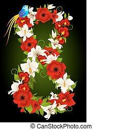floreale, vettore, otto, illustrazione