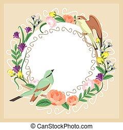 floreale, vettore, scheda, illustrazione