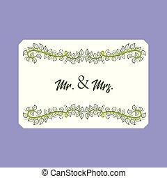 floreale, vettore, scheda, mr., mrs., matrimonio