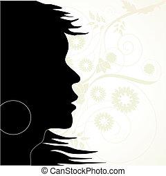 floreale, vettore, silhouette, fondo
