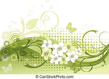 floreale, vettore, verde, illustrazione
