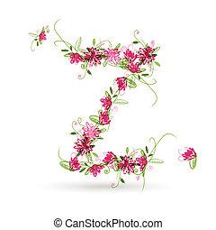 floreale, z, disegno, tuo, lettera