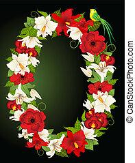 floreale, zero, simbolo, illustrazione