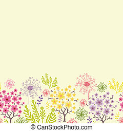 florecer, árboles, horizontal, seamless, patrón, plano de...