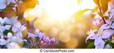 florecer, arte, primavera, plano de fondo