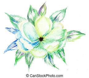 florecer, rama, apple-tree