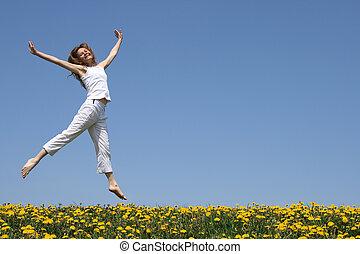 florecimiento, niña, pradera, bastante, bailando