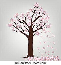 florecimiento, vector, árbol