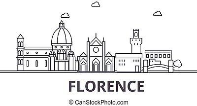Florence architecture line skyline illustration. Linear...