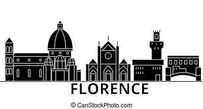 Florence architecture vector city skyline, travel cityscape...