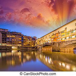 florence., arno río, y, ponte vecchio, en, anochecer