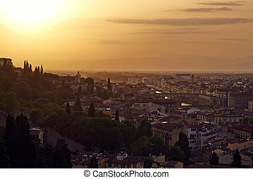 Florence, Arno River and Ponte Vecchio at sunset