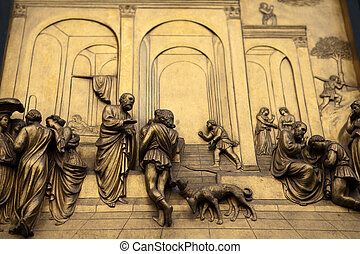 Florence - Baptistery , Panel of the Door of Paradise. Esau ...