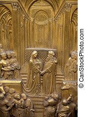 Florence - Baptistery , Panel of the Door of Paradise. ...