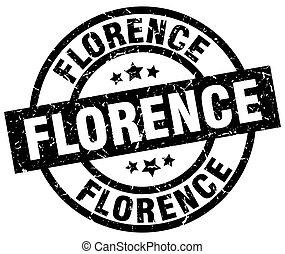 Florence black round grunge stamp