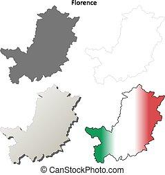 Florence blank detailed outline map set - Florence province...