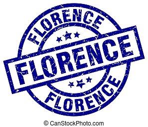 Florence blue round grunge stamp