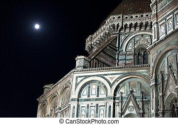 florence-, catedral, de, santa maria del fiore, por, noturna