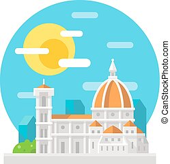 Florence cathedral flat design landmark