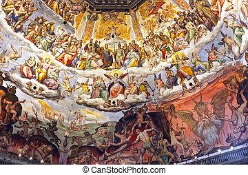 Last Judgement fresco by Vasari and Zuccari, Florence duomo, Tuscany, Italy