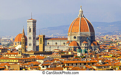 Rooftop view of medieval cathedral in Florence Tuscany