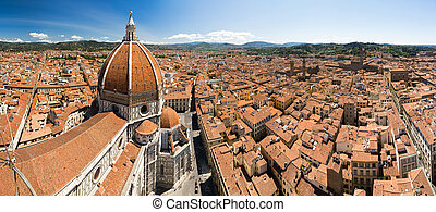Panorama from the bell tower in Florence, Italy, with the dome of the Florence cathedral