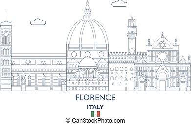 Florence City Skyline, Italy - Florence Linear City Skyline,...